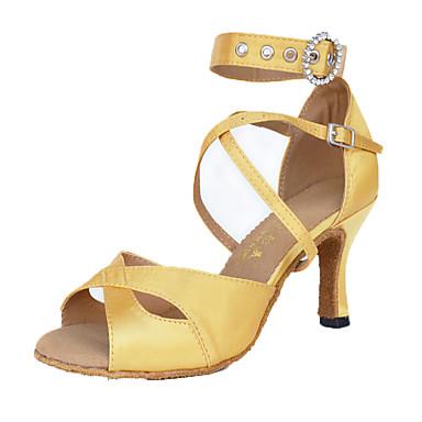 Női Latin cipők Bőrutánzat / Selyem Szandál / Sportcipő Professzionális Strasszkő / Hamisgyöngy / Csat Tűsarok Személyre szabható Dance