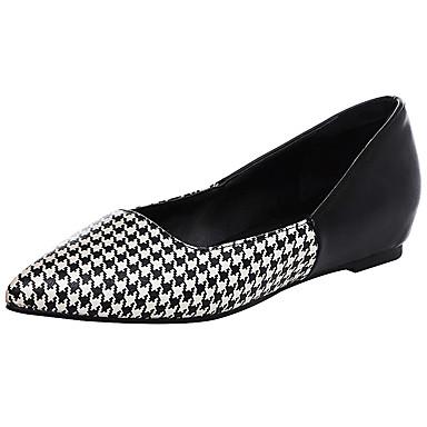 Damen Schuhe PU Frühling Sommer Komfort Loafers & Slip-Ons Flacher Absatz Spitze Zehe Geschlossene Spitze Kombination für Normal Kleid