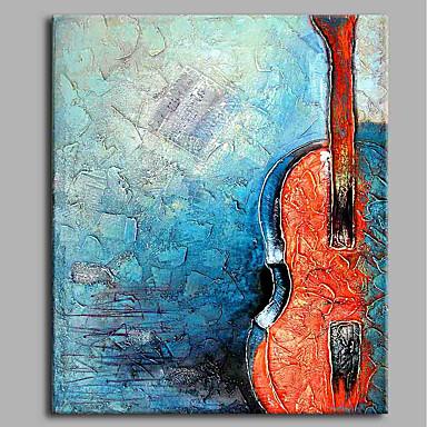 Hang festett olajfestmény Kézzel festett - Csendélet Művészi / Absztrakt / Alkalmi Vászon / Nyújtott vászon