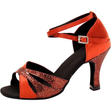 Damen Schuhe für den lateinamerikanischen Tanz Seide Sandalen Überkreuzte Rüschen Stöckelabsatz Maßfertigung Tanzschuhe Rot / Leistung / Leder