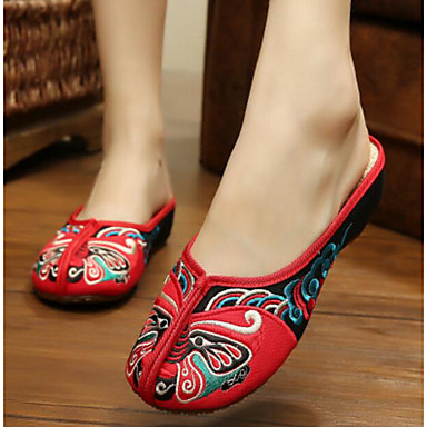 Damen Schuhe Stoff Sommer Komfort Slippers & Flip-Flops Für Normal Rot Grün