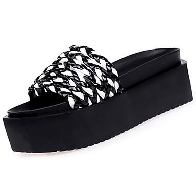 Női Cipő PU Nyár Kényelmes Papucs és papuc Gyalogló Lapos Lábujj nélküli Fehér / Fekete / Fekete / fehér
