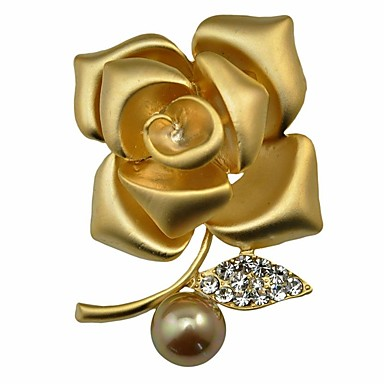 Női Virág Szintetikus gyémánt / Gyöngyutánzat Gyöngyutánzat / Arany gyöngy Melltűk - Személyre szabott / Virágos / Klasszikus Ezüst /