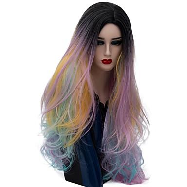 Szintetikus parókák Természetes hullám Szintetikus haj Ombre haj Bíbor Paróka Női Hosszú Sapka nélküli Vörös arany