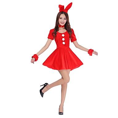بدل سانتا Mrs.Claus فساتينقطعة واحدة ملابس أنثى للبالغين كريسماس عيد الميلاد عطلة / عيد كوستيوم هالوين عتيقة