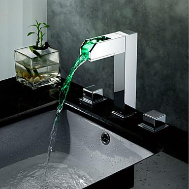 Fürdőszoba mosogató csaptelep - Vízesés Króm Elterjedt Két fogantyú három lyuk