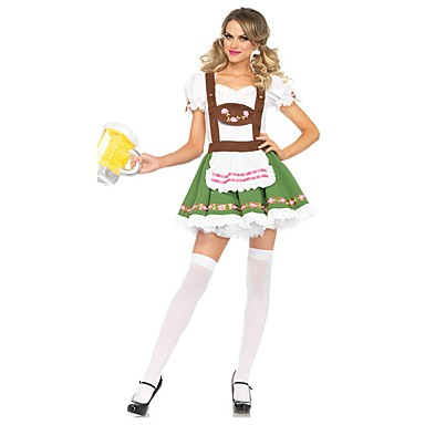 Maid Costume Oktoberfest Bavarian Cosplay Costume Costume Women's Oktoberfest Festival / Holiday Halloween Costumes Outfits Green Vintage