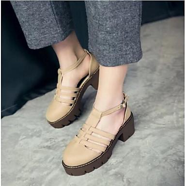Damen Schuhe PU Sommer Komfort Sandalen Mit Für Normal Schwarz Grau Mandelfarben