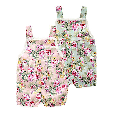 cheap Baby Girls' One-Piece-Baby Girls' Floral Floral / Fashion Print Sleeveless 100% Cotton Romper Pink / Toddler