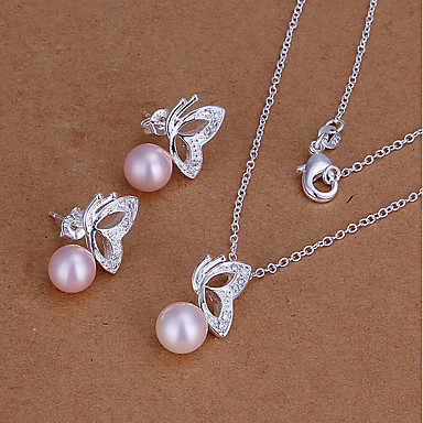 Women's Jewelry Set - Imitation Pearl Animal Cute Include Stud Earrings / Necklace Pink For Party / Daily / Casual