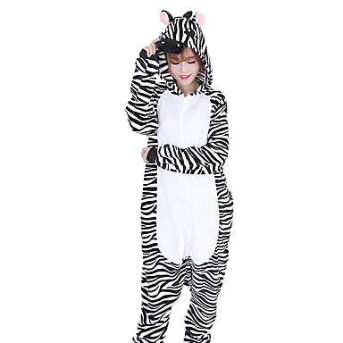 0a1821bdd8 Adults  Kigurumi Pajamas Zebra Onesie Pajamas Flannel Fabric Black   White  Cosplay For Men and Women Animal Sleepwear Cartoon Festival   Holiday  Costumes ...