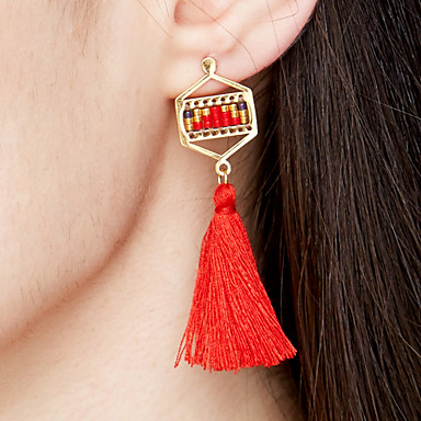 Women's Tassel / Long Earrings - Stainless Steel, Gold Plated Tassel, Bohemian, Fashion Light Green / Candy Pink / Teal For Event / Party / Gift / Evening Party
