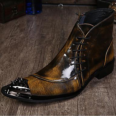 halpa Miesten kengät-Miesten Muodolliset kengät Nappanahka Syksy / Talvi Vintage Bootsit Nilkkurit Musta / Harmaa / Vaalean ruskea / Juhlat