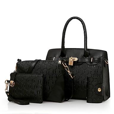 Women's Bags PU Bag Set Zipper Black / Red / Brown