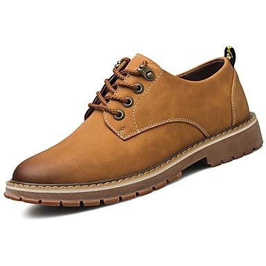 Férfi cipő PU Tavasz Ősz Könnyű talpak Félcipők Fűző mert Hétköznapi Sárga Barna