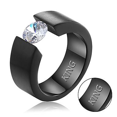Personalized Gift Rings Rhinestone Titanium Steel Men's Simple Geometric Chic & Modern Fashion Gift European Office/Business