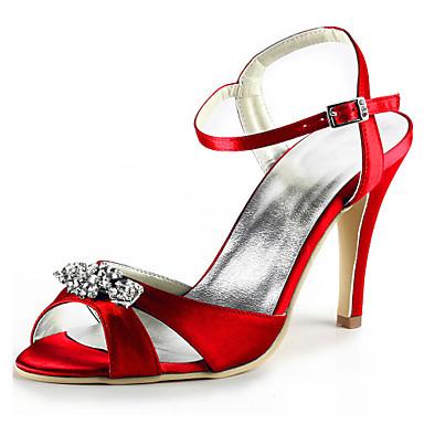 Aiguille Cristal Talon Bout de 06101468 mariage rond Printemps Escarpin Rouge Chaussures Bleu Basique Satin Eté Chaussures Femme Elastique pw67qPnFA