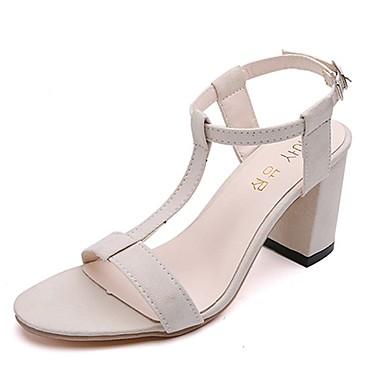 Damen Schuhe PU Sommer Fersenriemen Sandalen Walking Block Ferse Runde Zehe für Normal Schwarz Beige Grau