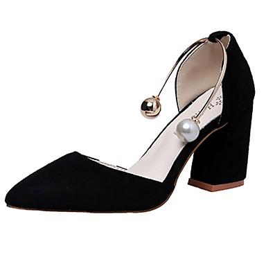 Damen Schuhe Kaschmir Sommer Komfort High Heels Walking Blockabsatz Spitze Zehe Perlenstickerei für Schwarz / Khaki