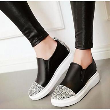 Damen Schuhe PU Sommer Komfort Flache Schuhe Für Normal Weiß Schwarz