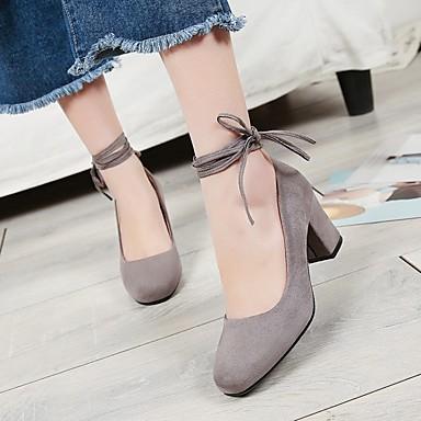 Damen Schuhe PU Frühling Komfort High Heels Blockabsatz Quadratischer Zeh Für Normal Schwarz Grau Kamel