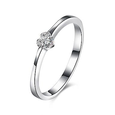 Női Kocka cirkónia Ezüst Szív - Alap Ezüst Gyűrű Kompatibilitás Esküvő / Parti / Eljegyzés