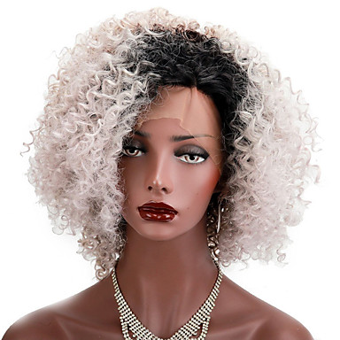 Synthetic Lace Front Wig Kinky Curly Bob Haircut Synthetic Hair Natural Hairline Brown Wig Short Lace Front