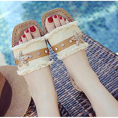 Damen Schuhe Denim Jeans PU Sommer Komfort Flache Schuhe Für Normal Beige Hellblau