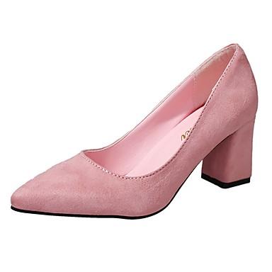 Női Cipő PU Nyár Kényelmes Magassarkúak Gyalogló Vaskosabb sarok Erősített lábujj mert Fekete / Rózsaszín