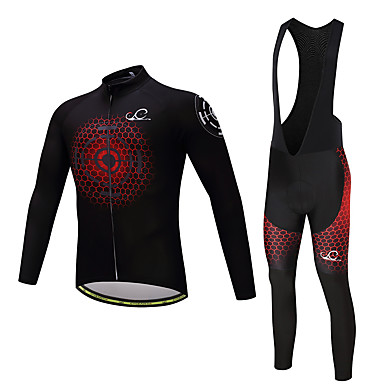 Men's Long Sleeve Cycling Jersey with Bib Tights - Black / Red Bike Clothing Suit, 3D Pad, Quick Dry, Winter, Polyester, Fleece, Lycra Honeycomb / Stretchy / Advanced