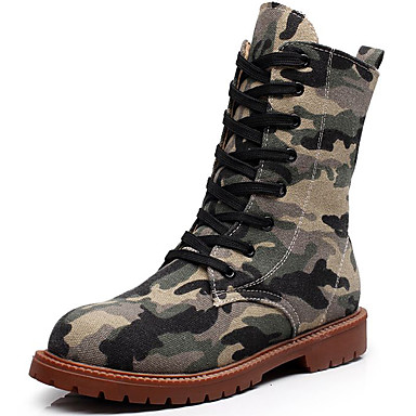 Women's Shoes Denim Fall / Winter Riding Boots Boots Booties / Ankle Boots for Outdoor / Office & Career Orange / Army Green