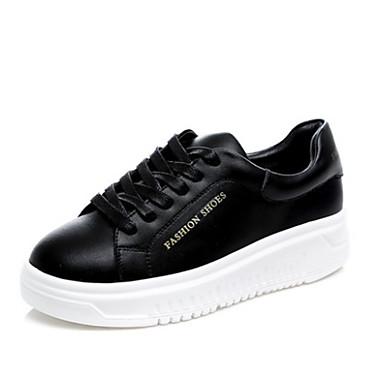 Damen Schuhe Leder Frühling Komfort Sneakers Creepers Für Normal Weiß Schwarz