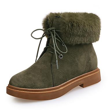 Damen Schuhe Nubukleder Winter Herbst Springerstiefel Stiefel Walking Blockabsatz Runde Zehe Schnürsenkel für Normal Schwarz Armeegrün