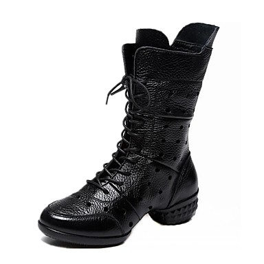 Women's Dance Boots Nappa Leather Boots / Split Sole Sided Hollow Out Low Heel Dance Shoes Black / Red