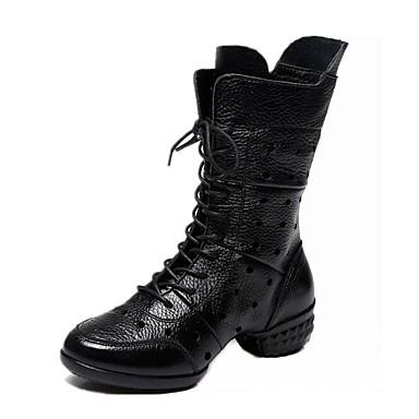Női Tánccipők Nappa Leather Csizmák / Kétrészes talp Szabadtéri Egyoldalú üres Alacsony Dance Shoes Fekete / Piros