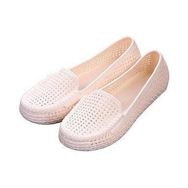 Damen Schuhe PVC Leder Sommer Komfort Flache Schuhe Mit Für Normal Beige Braun Rosa