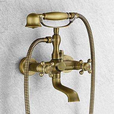 Badekarshaner - Håndbruser inkluderet Antik Messing Badekar & Bruser To Huller To Håndtag To huller