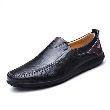 Herrn Schuhe Leder Sommer / Herbst Komfort / Leuchtende Sohlen / formale Schuhe Loafers & Slip-Ons Schwarz / Gelb / Dunkelbraun