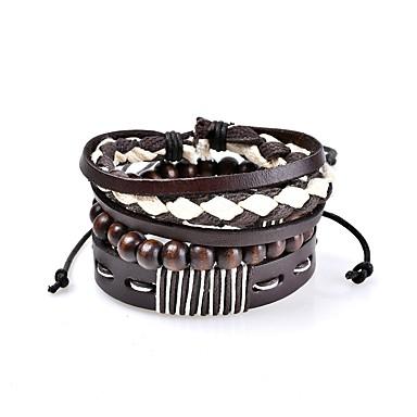 Men's / Women's Leather Luxury / Bohemian Leather Bracelet - Luxury / Classic / Bohemian Circle / Geometric Rainbow Bracelet For