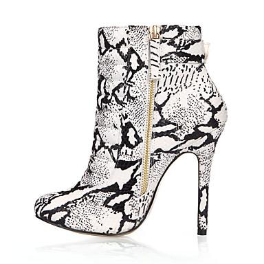 Damen Schuhe PU Herbst / Winter Stiefeletten Stiefel Runde Zehe Booties / Stiefeletten für Party & Festivität / Kleid Schwarz / weiss