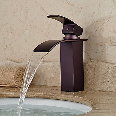 Bathroom Sink Faucet - Waterfall Oil-rubbed Bronze Centerset Single Handle One HoleBath Taps / Brass