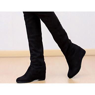 Damen Schuhe Echtes Leder PU Frühling Winter Komfort Modische Stiefel Stiefel Für Normal Schwarz Blau Khaki