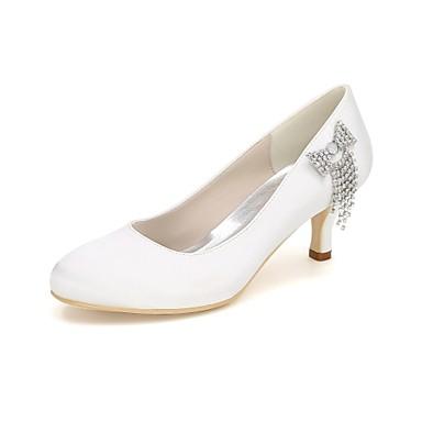 Women's Shoes Satin Spring / Summer Basic Pump Wedding Shoes Stiletto Heel Round Toe Rhinestone Blue / Champagne / Ivory