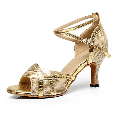 Női Latin cipők PU Magassarkúk Csat / Illesztés Személyre szabható Dance Shoes Arany / Fekete / Ezüst / Otthoni