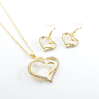 Women's Jewelry Set - Heart, Love Include Drop Earrings Necklace Gold For Wedding Party