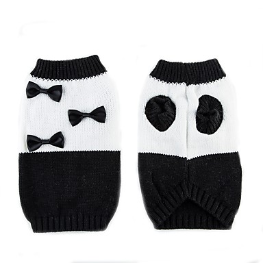 Cat Dog Sweater Dog Clothes Bowknot White/Black Chinlon Costume For Pets Casual/Daily Keep Warm