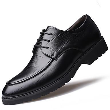 Férfi Cipő Bőr Ősz / Tél Kényelmes / Formai cipő Félcipők Lapos Erősített lábujj / Kerek orrú Fűző Fekete / Barna / Formális cipők