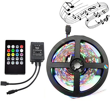 5m Light Sets 300 LEDs 3528 SMD RGB Remote Control / RC / Cuttable / Dimmable 12 V 1set / IP65 / Waterproof / Linkable / Self-adhesive / Color-Changing