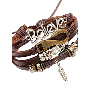 Men's Leather Bracelet - Leather Feather Vintage Bracelet Brown For Stage Club