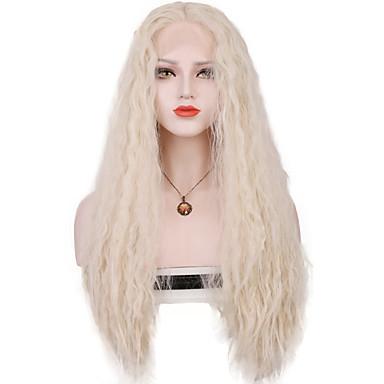 Szintetikus csipke front parókák Laza hullám 100% kanekalon haj Közepes rész Szőke Női Csipke eleje Jelmez paróka Hosszú Szintetikus haj